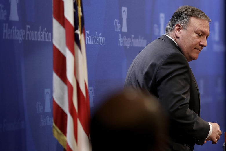 WASHINGTON, DC - MAY 21:  U.S. Secretary of State Mike Pompeo concludes his remarks at the Heritage Foundation May 21, 2018 in Washington, DC. Pompeo spoke on the topic of 'After the Deal: A New Iran Strategy.'  (Photo by Win McNamee/Getty Images)