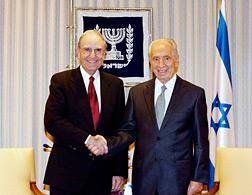 President Shimon Peres of Israel and former Sen. George Mitchell. Click image to expand.