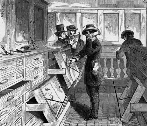 This illustraion published in Harper's Weekly in July 1869 shows patent examiners at work.