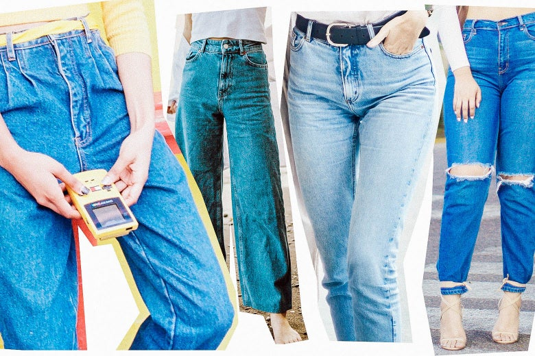 Four different styles of jeans