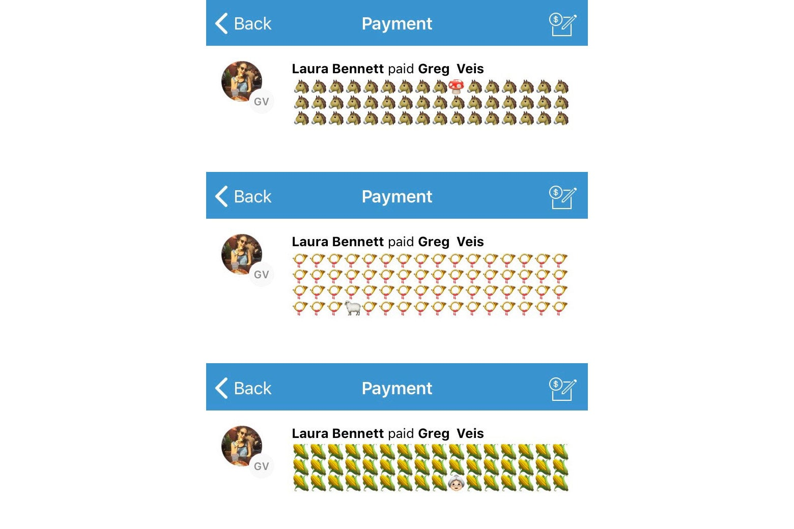Blocks of emojis with one single emoji that's different from the rest.
