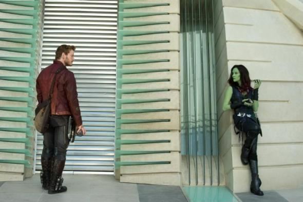 Chris Pratt and Zoe Saldana in Guardians of the Galaxy.