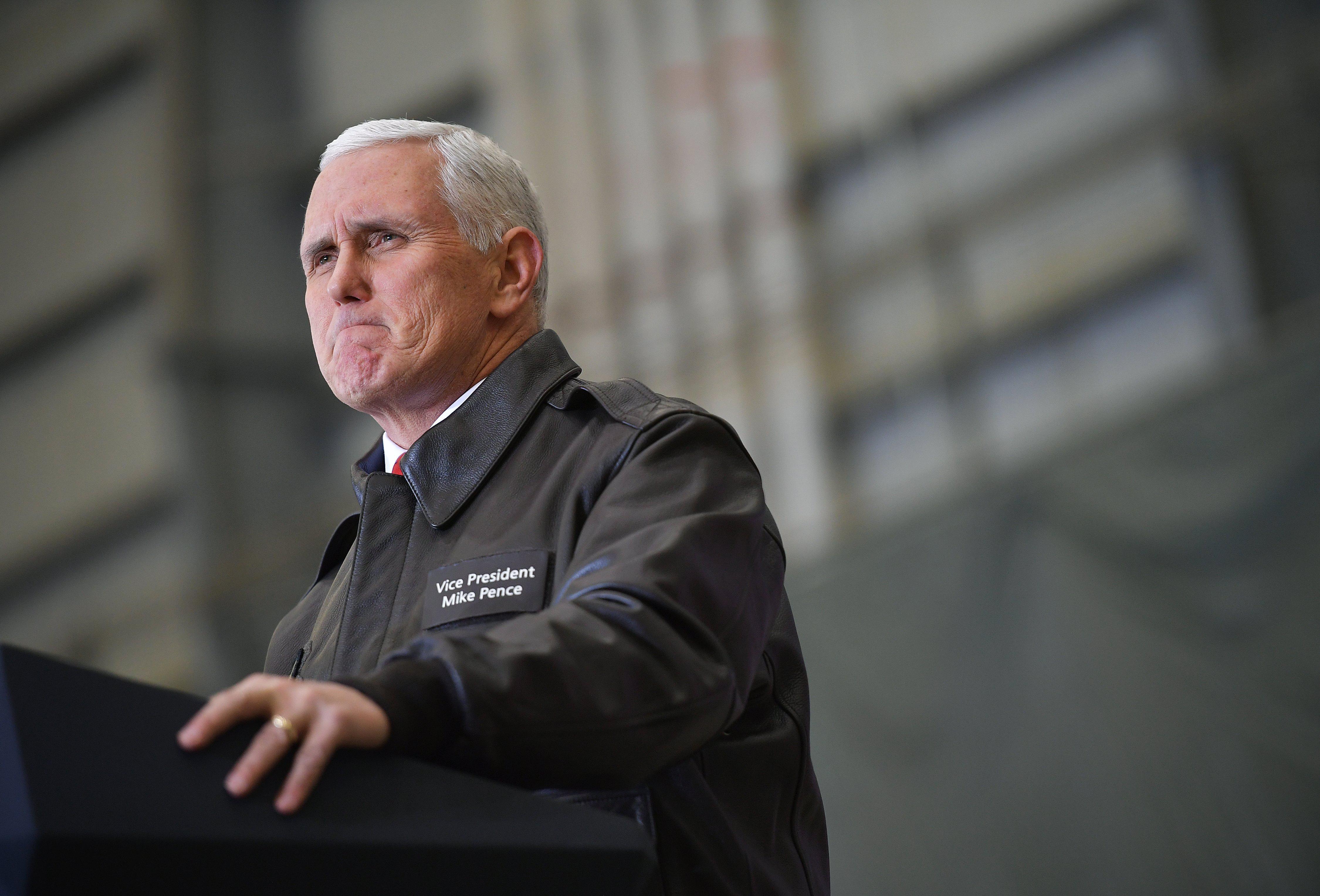 Vice President Mike Pence speaks to troops in a hangar at Bagram Air Field in Afghanistan on December 21, 2017.