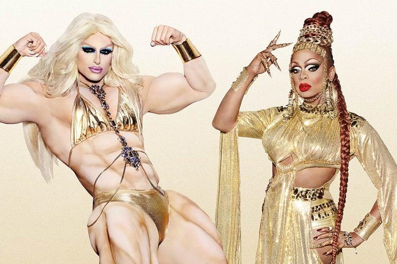 RuPaul's Drag Race queens Milk and Kennedy Davenport.