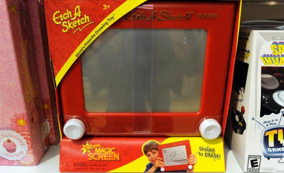 An 'Etch A Sketch' for sale at FAO Schwarz in New York City on March 22, 2012.