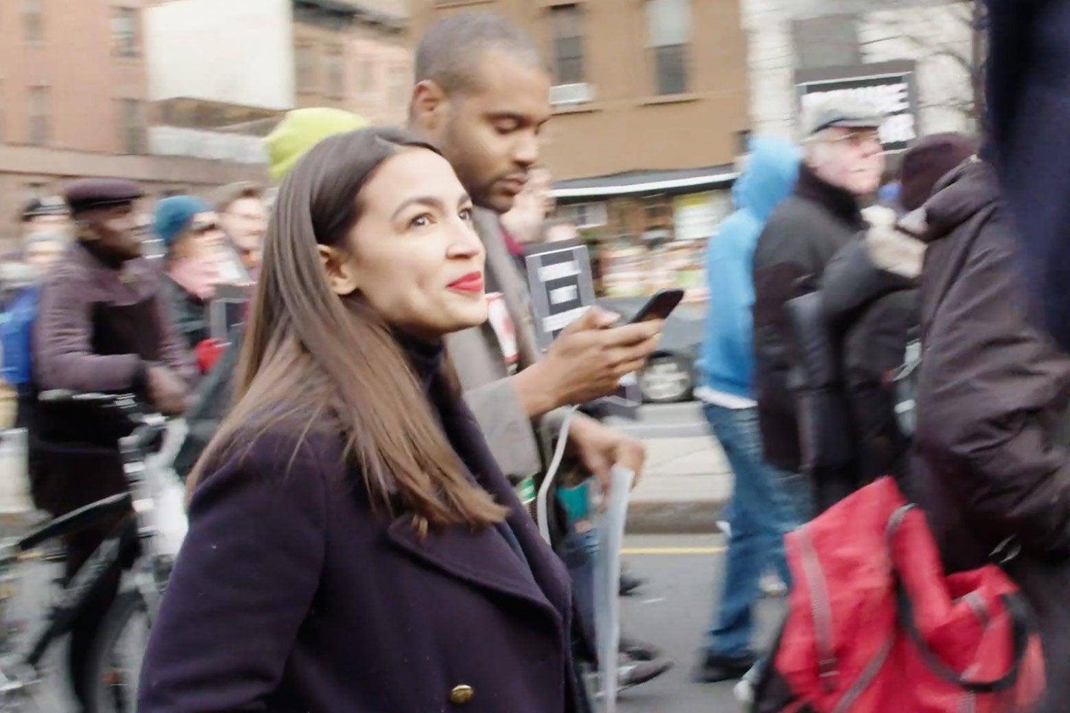 Alexandria Ocasio-Cortez in the documentary.