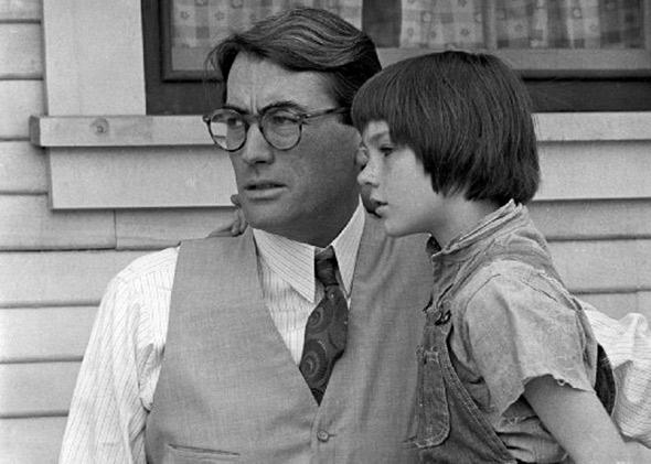 Gregory Peck and Mary Badham in To Kill a Mockingbird (1962).