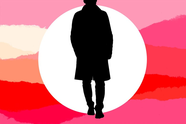 A silhouette of a figure in a trenchcoat.