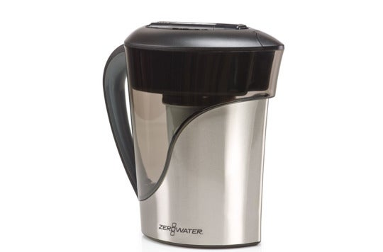 Stainless steel ZeroWater pitcher.