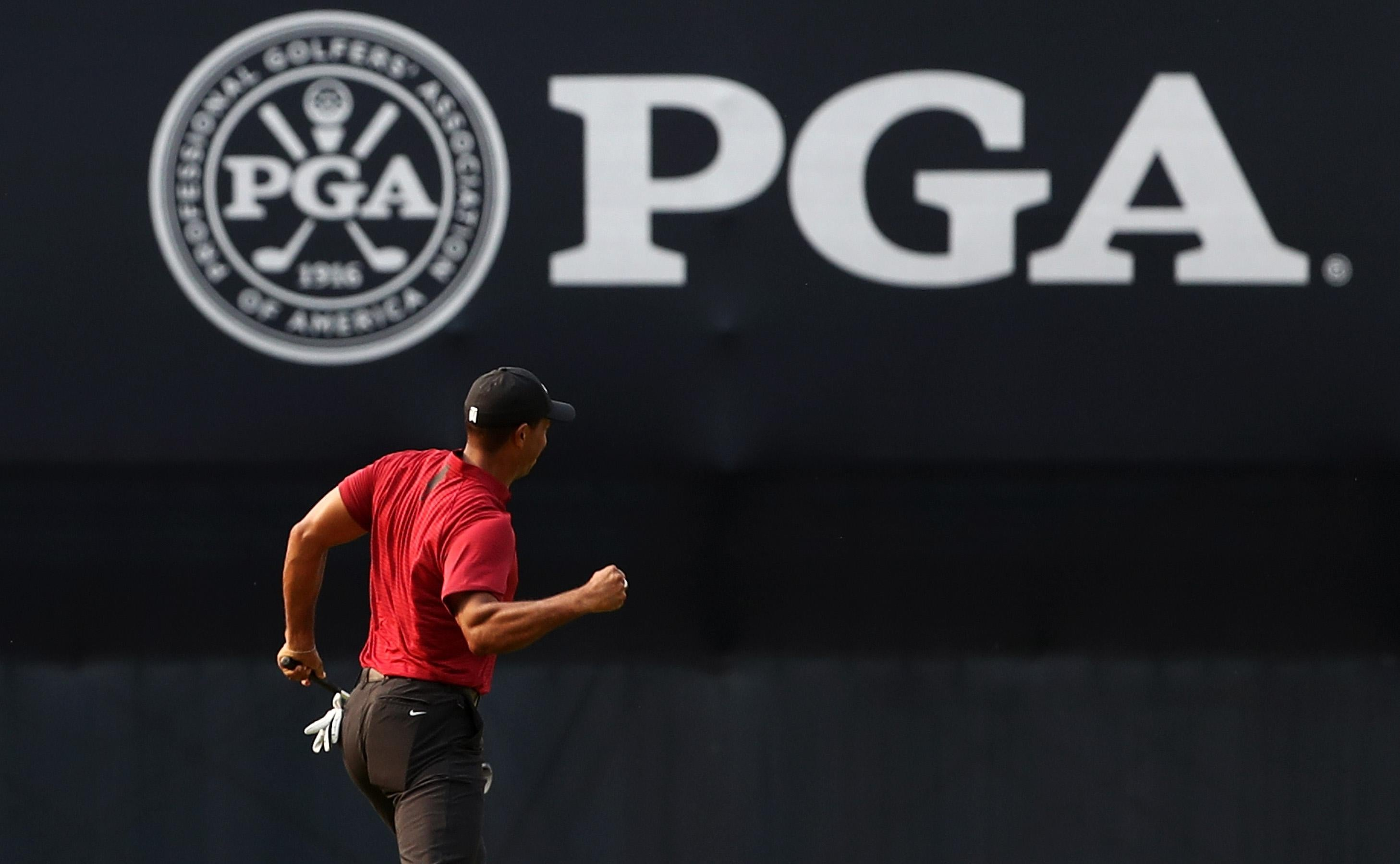 Tiger Woods after making a closing birdie in the PGA Championship.