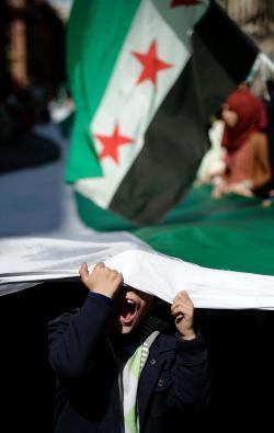 A rally against Syrian President Bashar al-Assad in Rome