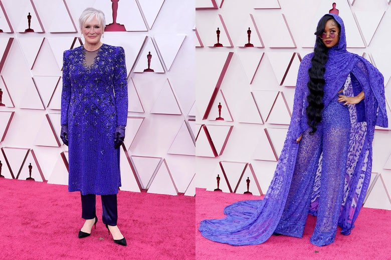 Glenn Close and HER pose on the Oscars red carpet.