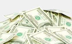 Pile of American 100 dollar bills.