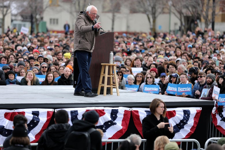 Bernie Sanders addresses supporters during a campaign rally in Salt Lake City, Utah, on March 2.