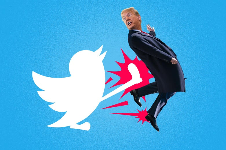 Collage of Trump getting kicked by a twitter bird.