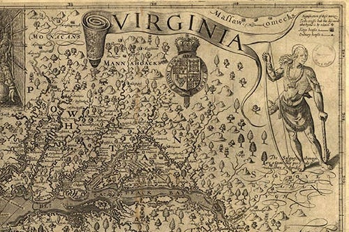 A 1624 map of Virginia.