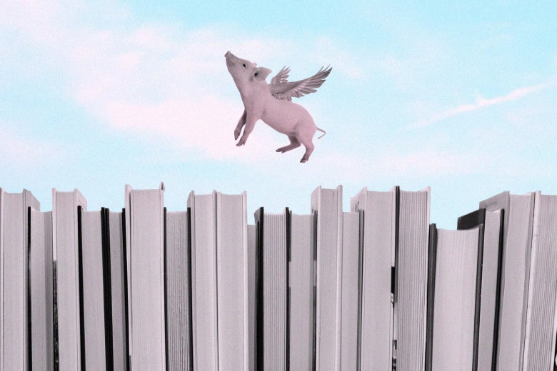 Collage of a flying pig hovering over a shelf of books.