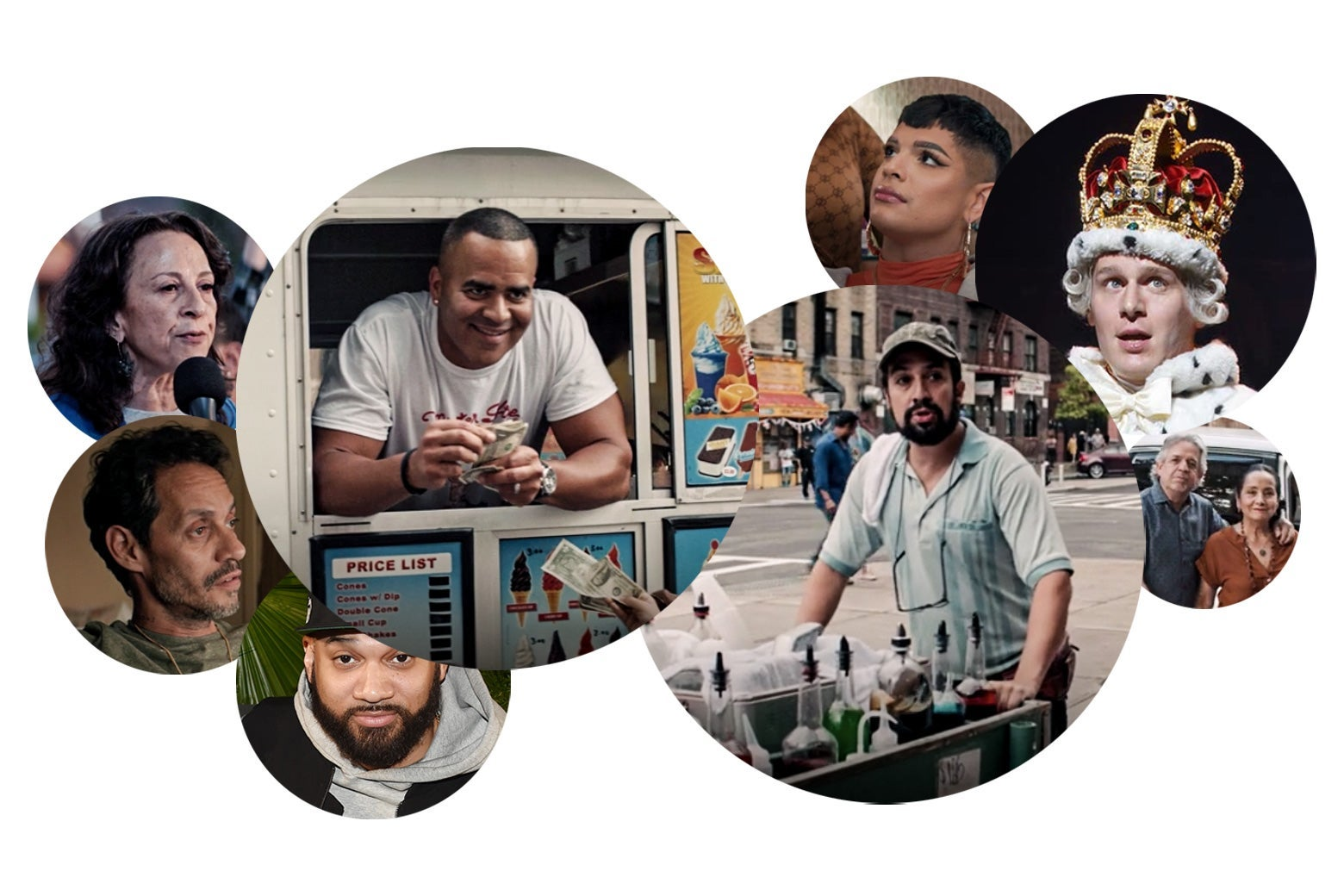 A collage showing Lin-Manuel Miranda pushing a cart, Chris Jackson leaning out the window of an ice-cream truck, Valentina in a salon chair, a press photo of the Kid Mero, Marc Anthony lookin' scraggly, Maria Hinojosa, Lin-Manuel Miranda's parents, and King George III, standing beneath his crown