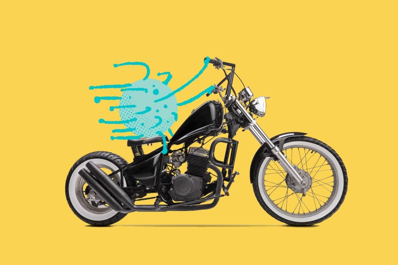 A coronavirus rides a motorcycle.