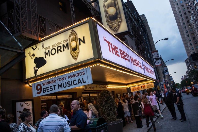 The marquee for Book of Mormon.