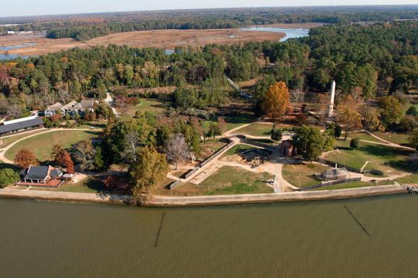 Aerial view of James Fort, Jamestown Island, Virginia.