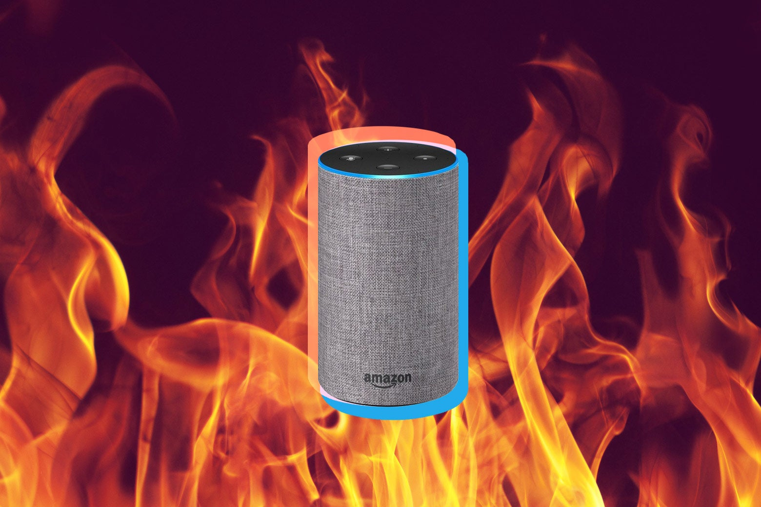 An Amazon Echo, surrounded by flames.