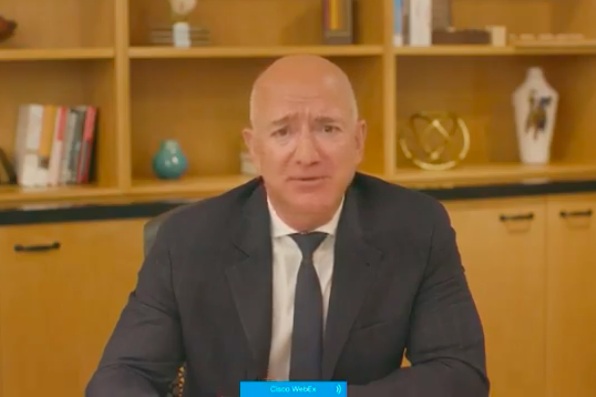 A screenshot of Jeff Bezos testifying remotely.