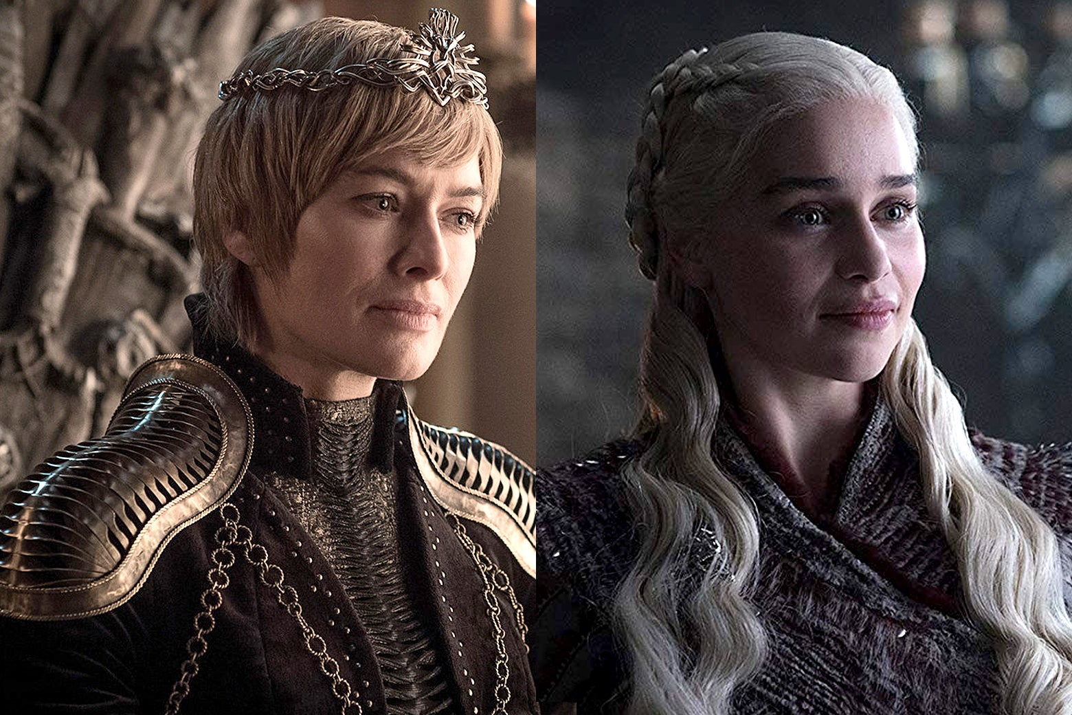 Side-by-side images of Lena Headey as Cersei Lannister and Emilia Clarke as Daenerys Targaryen in Game of Thrones.