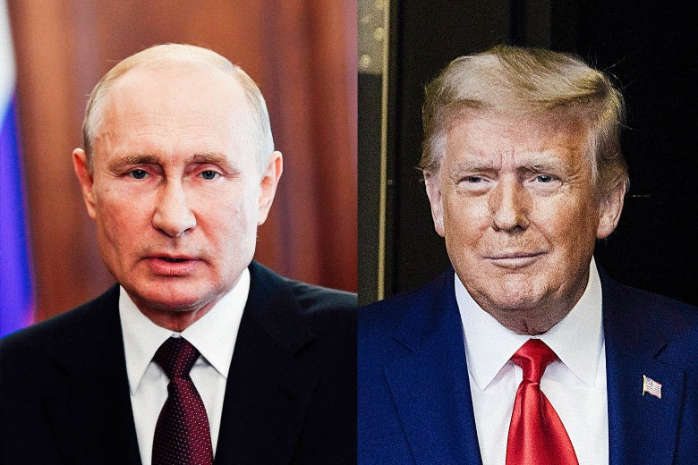 Side-by-side photos of Putin and Trump