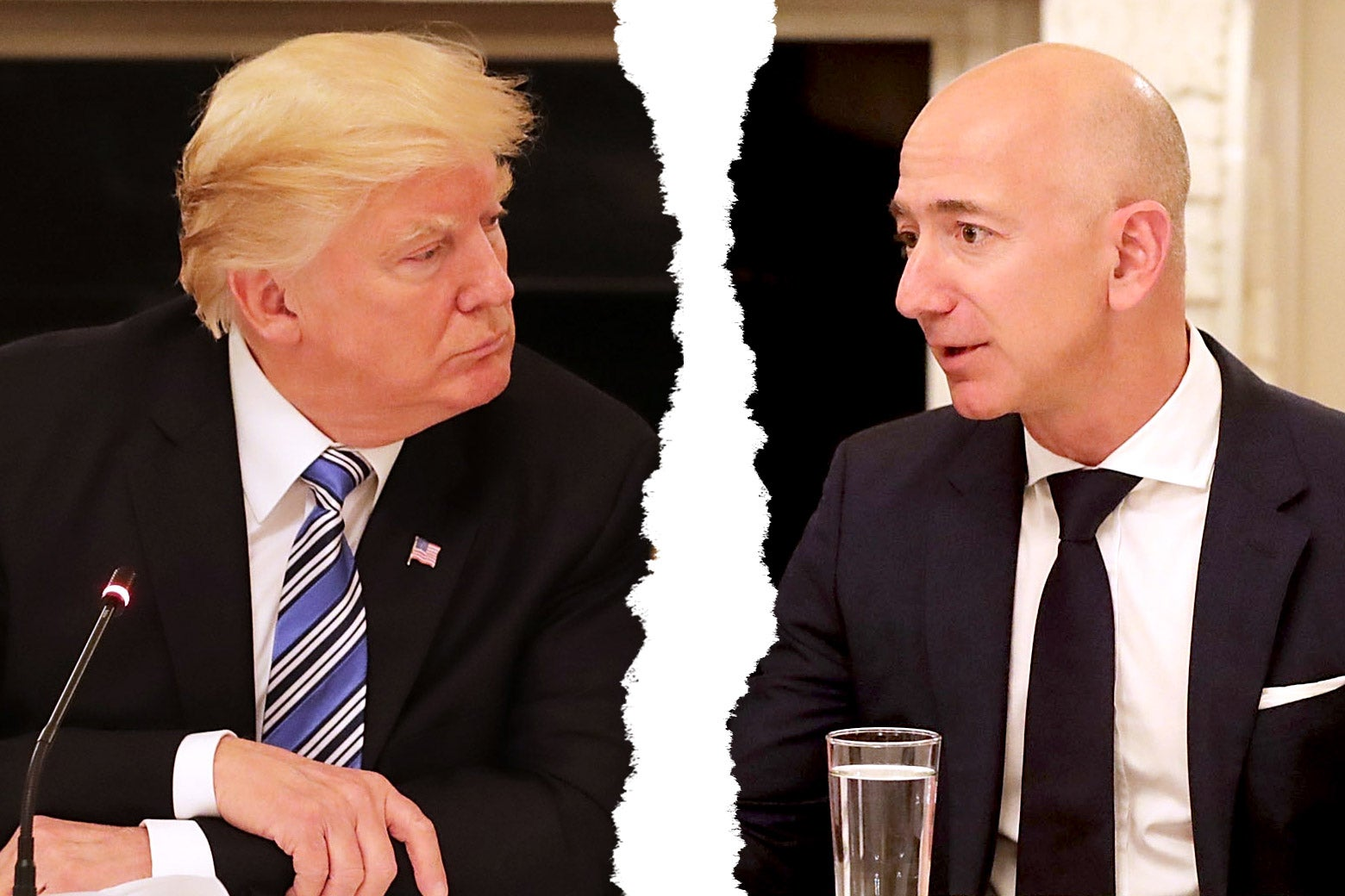 President Donald Trump and Amazon CEO Jeff Bezos attend a meeting of the American Technology Council in the State Dining Room of the White House June 19, 2017 in Washington, DC.
