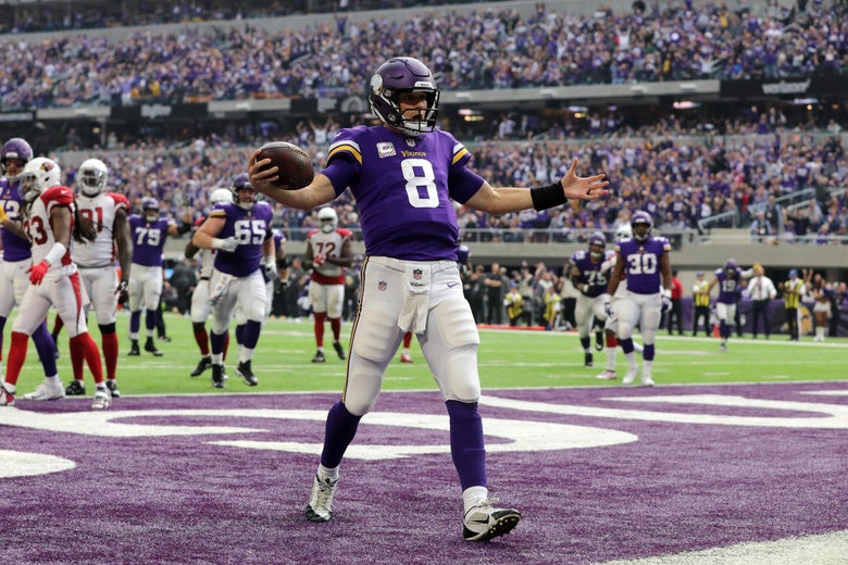 MINNEAPOLIS, MN - OCTOBER 14: Kirk Cousins #8 of the Minnesota Vikings runs into the end zone with the ball for a touchdown in the third quarter of the game against the Arizona Cardinals at U.S. Bank Stadium on October 14, 2018 in Minneapolis, Minnesota. (Photo by Adam Bettcher/Getty Images)