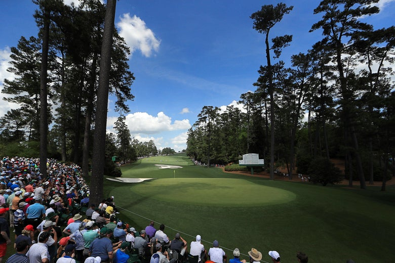 AUGUSTA, GEORGIA - APRIL 11: A general view of the tenth green during the first round of the Masters at Augusta National Golf Club on April 11, 2019 in Augusta, Georgia. (Photo by Mike Ehrmann/Getty Images)