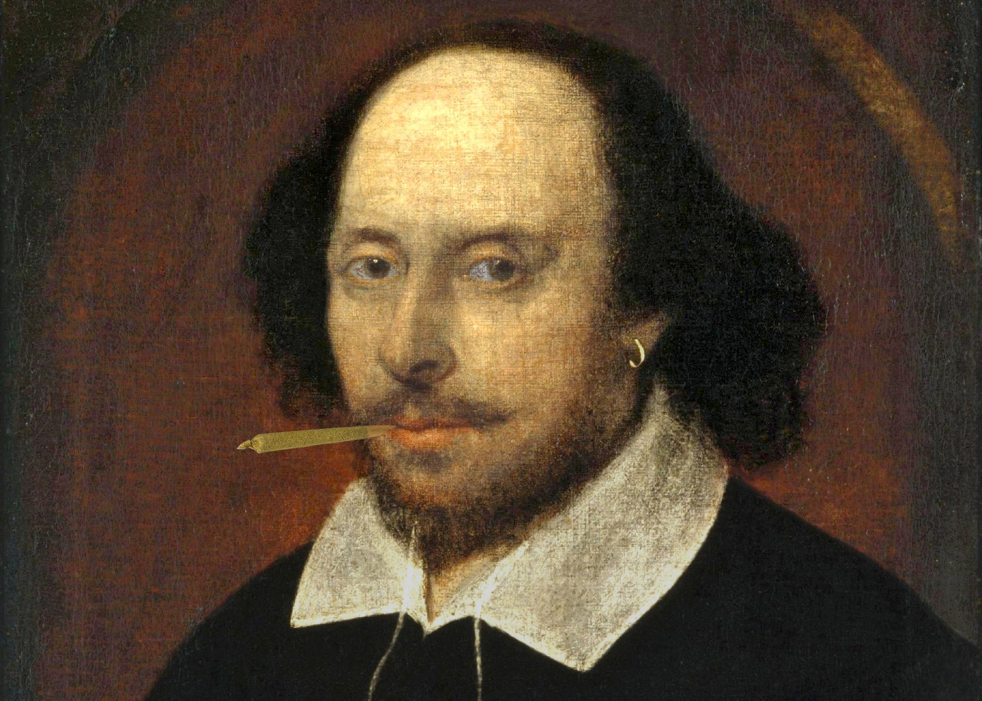 The Chandos Portrait of William Shakespeare altered to add a joint inserted in his mouth and a little bit of red in his eyes.