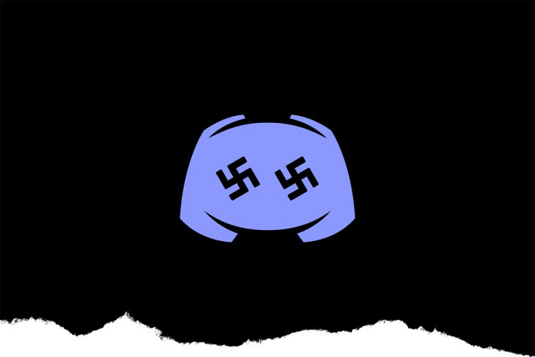 Discord logo with swastikas instead of eyes.