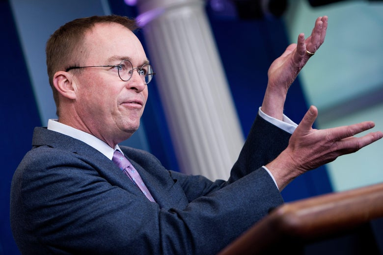 Office of Management and Budget Director Mick Mulvaney speaks about the Consolidated Appropriations Act of 2018 at the White House March 22, 2018 in Washington, DC.
