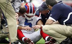 Starting Quarterback Trent Edwards #5 of the Buffalo Bills suffers a concussion in 2008. Click image to expand.