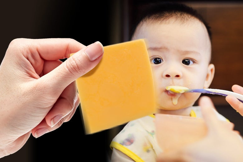 A baby facing down some American cheese.