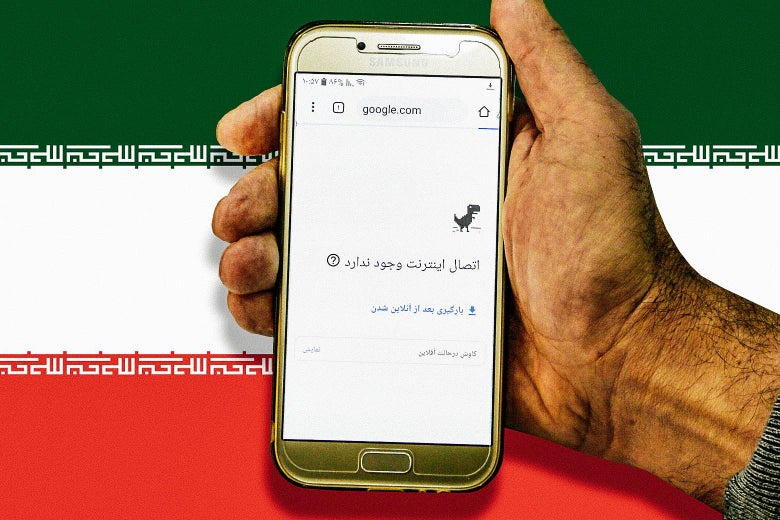 A hand holds a smartphone showing an offline screen with Farsi text, imposed against the Iranian flag