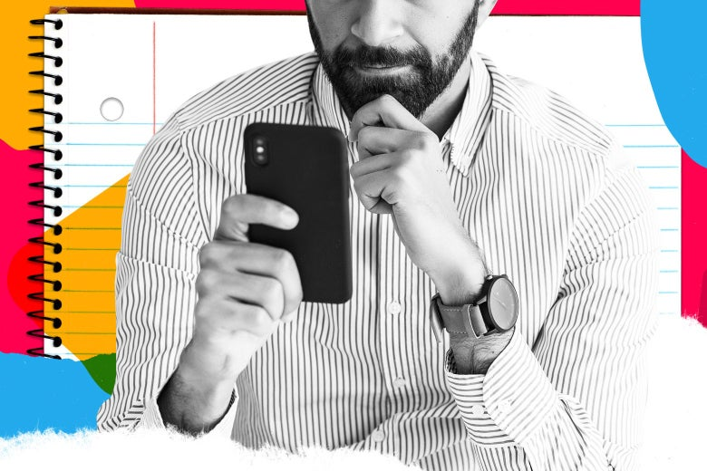 Bearded man in a collared shirt looking thoughtfully at his phone