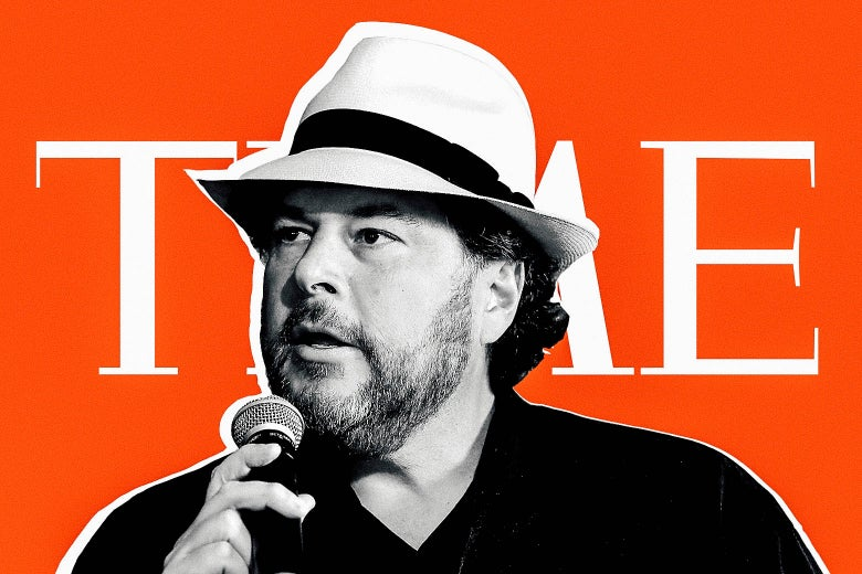 Marc Benioff, with a hat on, in front of the Time logo.