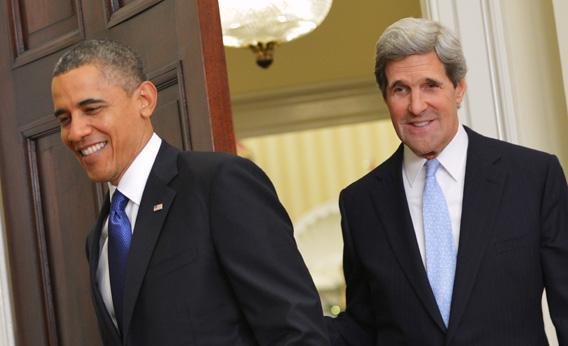 President Obama followed by Senator John Kerry D-MA at the White House on Friday in Washington, DC.