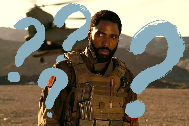 John David Washington in Tenet with questions marks over the image.