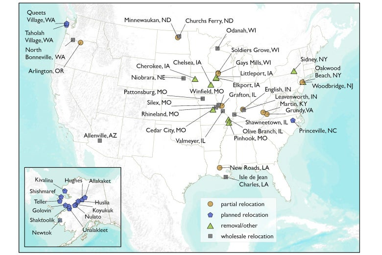 A map showing the locations of dozens of U.S. towns that have been or will be relocated.