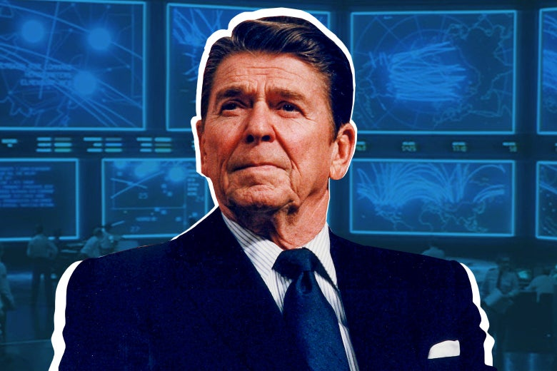 An image of Ronald Reagan superimposed on the WOPR from WarGames