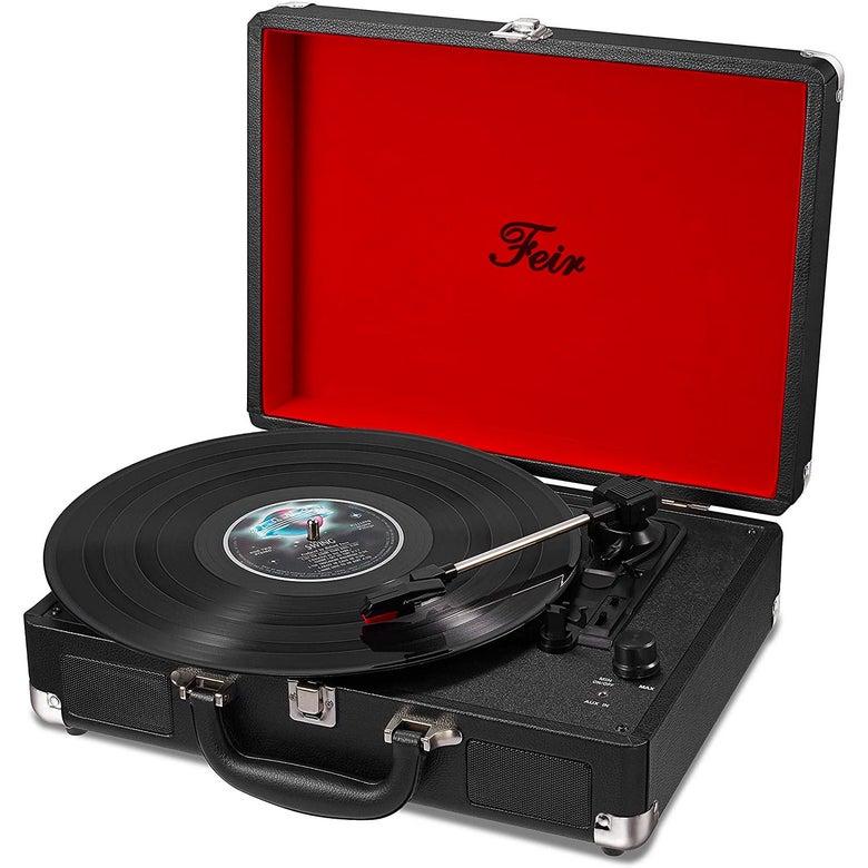 A portable record player.