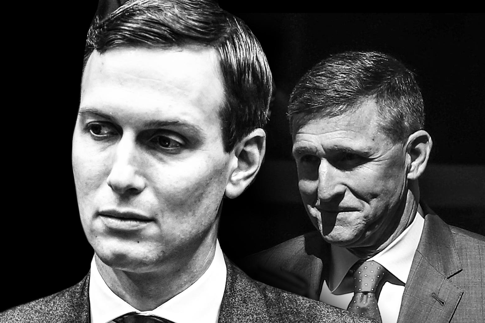 Jared Kushner and Michael Flynn in a composite black-and-white photo.