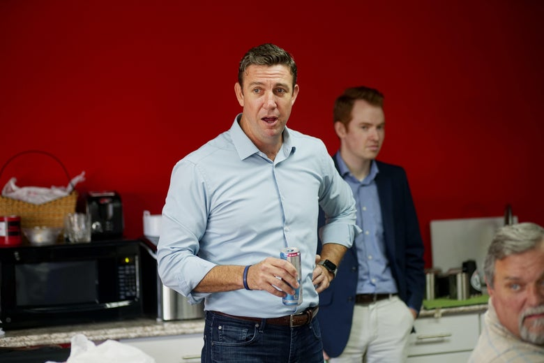 Rep. Duncan Hunter (R-CA) speaks to campaign staffers during a visit to one of his headquarters on November 6, 2018 in Santee, California.