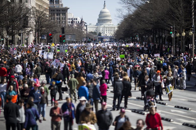 Demonstrators gather on Pennsylvania Avenue during the March for Our Lives rally