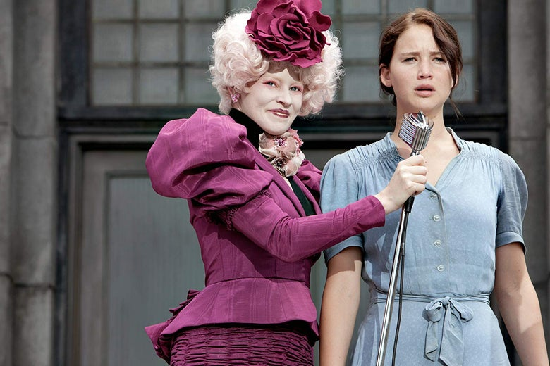 Effie Trinket and Katniss Everdeen.
