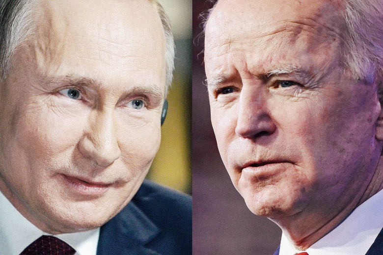 Side by side photos of Putin and Biden